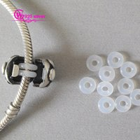 Wholesale hot sale sale round rubber stoppers spacer bead for european bangle silver bracelets or clip No50