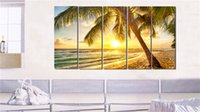 Wholesale HD Canvas Print home decor wall art painting Picture NO FRAME Sunset Beach coconut trees