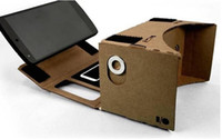 Wholesale 2016 DIY Google Cardboard Carton Mobile Phone Virtual Reality VR D Glasses for iPhone s plus s6 s7 Note Head Strap Box