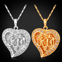 arabic pendants - U7 Crystal Heart Allah Pendant Arabic Jewelry Platinum Plated K Real Gold Plated Muslim Allah Necklace Islamic Jewelry
