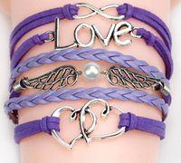 Wholesale 2015 styles bracelets New Cute Infinity Love Believe Pearl Friendship Charm Multilayer Charm Leather Bracelets for women