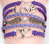 Wholesale 2016 styles bracelets infinity bracelets Love Believe Pearl Friendship Charm Multilayer Charm Leather Bracelets for women