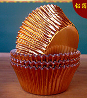 Wholesale Mini gold silver foil cupcake cases papers muffin liners cake cups baking mould