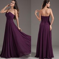 Wholesale 2017 Popular Style Purple Empire Bridesmaid Dresses Sweetheart Lace up Back Floor Length Ruched Chiffon Long Prom Dresses Custom B37