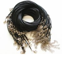 Wholesale DIY silver plated Black Waxen Leather lobster clasp necklace hung on the rope Pendant rope with leather cord necklace Necklace Rope