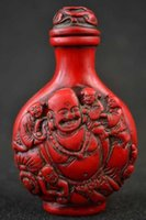Wholesale home decor Old Collectibles Decorated Gem Craft Wonderful Handwork Coral Carving Buddha Snuff Bottle