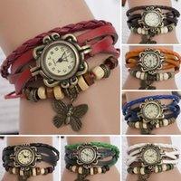 Wholesale High Quality Vintage Women Butterfly Pendant Bracelet Wristwatches Braided Leather Dress Quartz Watch Women Clock MHM356