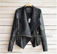 Lapel Neck women black short leather jacket - Spring Autumn Hot Sell New Designers Europe America Fashion Women Coat Slim Short PU Leather jacket Women black beige