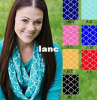 Wholesale New Arrive Colors Quatrefoil Cotton Jersey Knit Infinity Scarf Fashion Women Winter Warm Circle Double Loop Ring Scarves