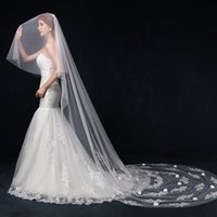 beautiful marriage gauze - Exquisite craft high quality latest lace applique meters long elegant fashion beautiful woman preferred marriage gauze veil