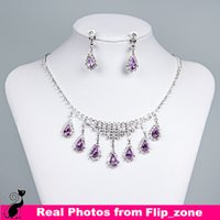 indian jewelry - Cheap Necklace Earrings Purple Silver Rhinestone Crystal Bridal Women Accessories Bridesmaid Prom Party Wedding Ring Jewelry Sets