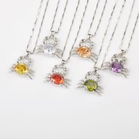 beaded crab - cute crab mixed colors inch sterling silver jewelry necklace silver necklace