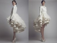 Wholesale 2014 New Short Wedding Dresses Hot Sales Ivory Satin Feather Ruffles Long Sleeve High Low High Neck Wedding Gowns Custom Made High Quality