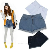 Cheap 2013 new women Korean stylenanda gradient loose curling high waist denim shorts hot pants E1319
