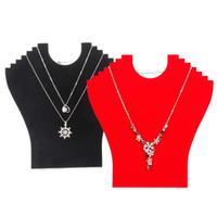 Venta al por mayor 4 negro / rojo terciopelo collar de pantalla del tablero para 6 piezas