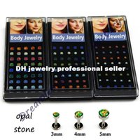 Wholesale Labret Dreamlee of l Surgical Steel Assorted Colors Opal Stone Lip Labret Monroe Stud Ring Body Piercing Jewelry lip ring