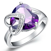 amethyst birthstone ring - Brand NEW Purple Austria Amethyst Gem Stone Ring Princess Lover s Birthstone Women k Real White Gold Filled Women s