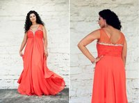 plus size prom dresses - 2015 Custom Made Plus Size Prom Dress Floor Length Chiffon A Line V neck Backless Orange Prom Dresses Modern Evening Dress With Crystals