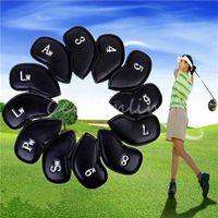 Wholesale 12 Pu Universal Golf Club Head Cover Waterproof Black Leather Protective Sleeve Black Golf Club Sport Iron Head Covers HeadCover order lt no