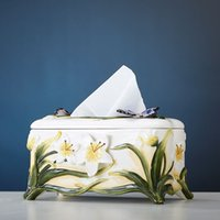 bamboo paper tray - European and American minimalist creative ceramic tissue box tray pumping paper towel tube living room toilet toilet Splendor Xi