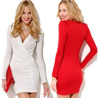 Wholesale The Fall Fashion Sexy Deep V Collar Long Sleeved Hip Package Dress