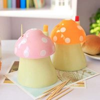 Wholesale cute automatic toothpick holder fashion small portable house Mushroom shaped Romantic creative toothpick box paliteiro criativo