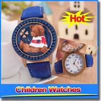 Wholesale New Fashion Cute Bear Cartoon Watch Waterproof Flip Wrist Watch Kids Children Watches Crystal Quartz Boys Girls As Gift Watches