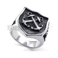 Wholesale Teboer Jewelry Stainless Steel Ring Cross Anchor Nautical Shield Vintage MER07
