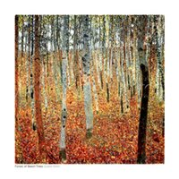 One Panel beech panel - Art Painting Gustav Klimt oil on Canvas Forest of Beech Trees c Room decoration Hand painted High quality