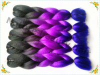 purple black hair color - Three tones color black purple dark purple jumbo xpression hair braids ombre kanekalon braiding hair hair