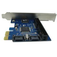 Wholesale 1pcs PCI E PCIe PCI Express to Dual Pin SATA PATA IDE Converter PC Expansion Card Low Profile Normal Bracket Hot Swap Plug