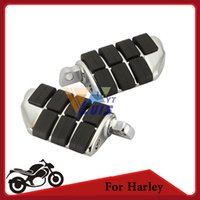 Wholesale Black Chrome Motorcycle Foot Rest Foot Pegs Left Right For Harley Davidson Male Mount Bike Cruiser Moto Footrest Aluminum Rubber order lt no