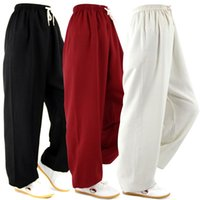 Wholesale Classic Cotton amp Linen Pants Bloomers Yoga Clothing Tai Chi Square Dance Yoga Pants Kung Fu Running trousers Both Men and Women