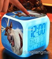 Wholesale 20pc free shpping New LED Colors Change Digital Alarm Clock Frozen Anna and Elsa Thermometer Night Colorful Glowing Clock O Z349