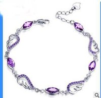 amethyst tennis bracelet sterling - S925 sterling silver bracelet Amethyst bracelet Angel Wings Women s favorite high end fashion products