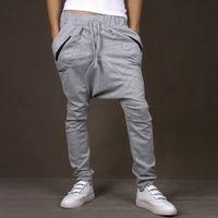 drop crotch pants - 2015 Men Harem Pants Hip Hop Saruel Swag Sarouel Fashion Moleton Calca Pantalon Low Drop Crotch Pants