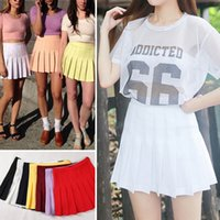 Wholesale New American Apparel Street Fashion Women Lady High Waist Ball Tennis Pleated Skirt XS L White Black Red Pink Yellow