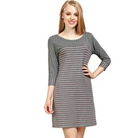 Nightgowns & Sleepshirts cotton nightgown - Qianxiu New women s nightgown modal cotton sleeve stripe sleepwear pajamas drop shipping