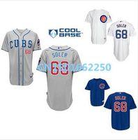 pinstripe baseball jerseys - 2016 New Chicago Cubs Jorge Soler Jersey Blue Grey White Pinstripe Home Baseball Shirt