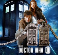 antique vintage jewelry - Movie Accessory Jewelry Doctor Who Police Box Phone Box Pendant Necklace Vintage Silver Gold Colors Retro Antique Men Women Necklaces