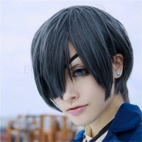 Wholesale Anime Black Butler Ciel Phantomhive cosplay wig new fashion women men s Short gray and blue mixed layered wig BE3001 A5