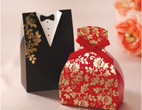 Cheap 2015 Unique Red And Black Laser Cut Wedding Favor Holders Gift Boxes Party Birthday Paper Bridegroom Bridal Model Hot Stamping Candy Bags