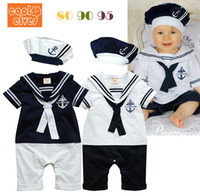 cotton baby body - summer Retail navy style baby romper suit kids boys girls rompers hat body summer short sleeve sailor suit