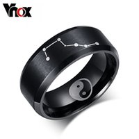 ba steel - Black Color Rings for Men Jewelry Stainless Steel Chinese Ba Gua Elements Rings Big Dipper Ring Jewelry Christmas pa