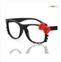 Wholesale hot sell WITH LENS Style Fashion Glasses Black Frame red bow Nerd Costume N2