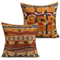african print cushions - Vintage Printed Colorful African Cotton Linen Pillow Case Cushion Square X45CM Cover Home Hotel Office Back Throw