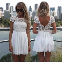 Cheap Under $50 2015 Homecoming Dresses Lace Applique Short Formal Prom Dresses Jewel Neck Zip Back Mini Length Chiffon Cheap In Stock Christmas