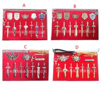 Wholesale 4 Style cartoon The Legend of Zelda Weapon Sets Link Swords to cm Metal key Ring Necklace pendant Xmas Gift B001