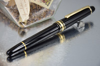 Wholesale PURE PEARL MB High Quality Pure Black Resin Golden Clip Fountain Pen Roller Ball Pen Screwed Cap