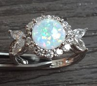 opal - manufacturer direct sale fashion jewelry TOP GRADE silver stamped nice white fire opal rings